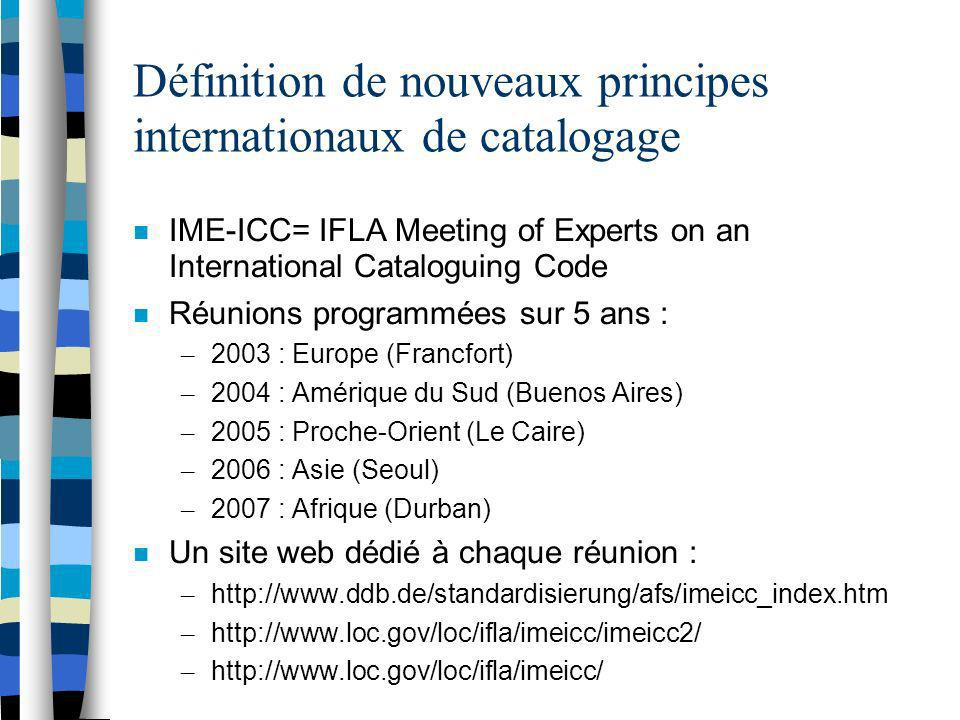 Définition de nouveaux principes internationaux de catalogage IME-ICC= IFLA Meeting of Experts on an International Cataloguing Code Réunions programmé