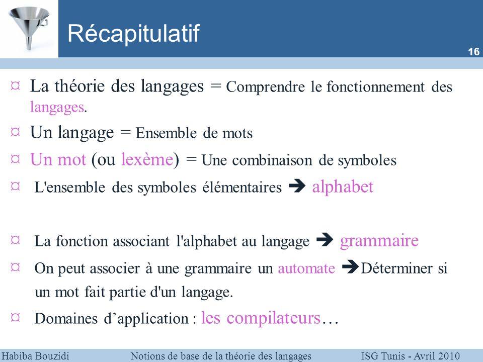 Habiba Bouzidi Notions de base de la théorie des langages ISG Tunis - Avril 2010 Récapitulatif ¤La théorie des langages = Comprendre le fonctionnement