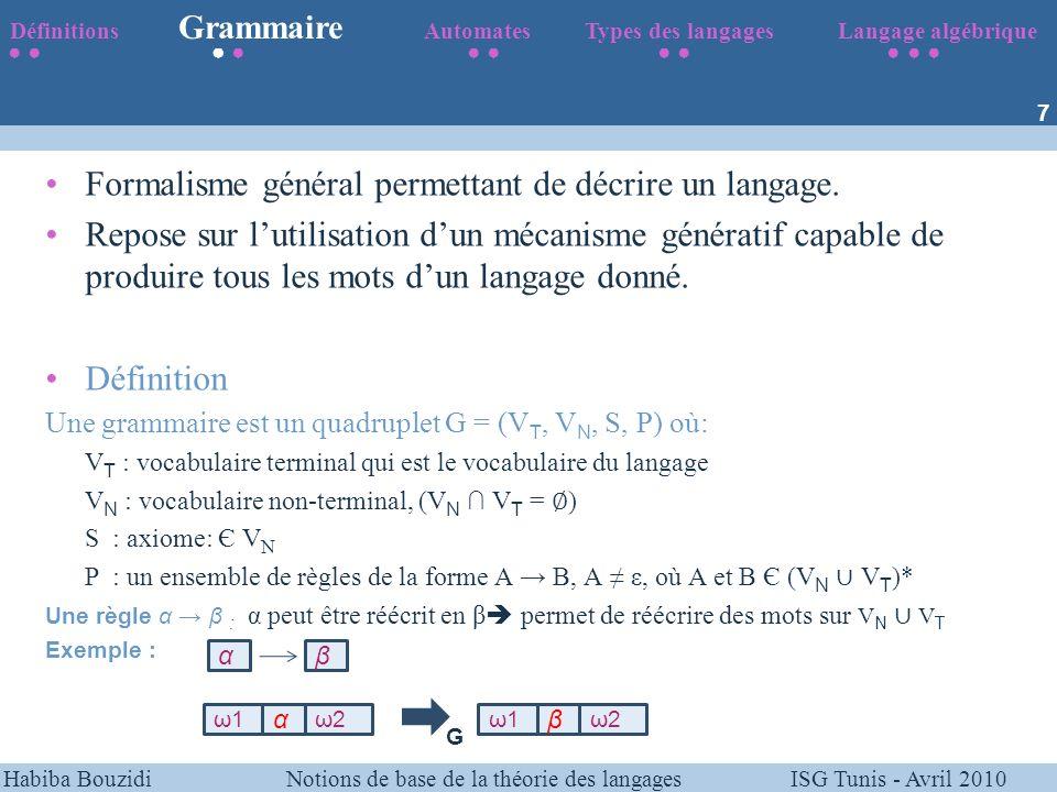 Habiba Bouzidi Notions de base de la théorie des langages ISG Tunis - Avril 2010 Exemple G=({a}, {S,S 1 }, S, P) VT : {a} VN : {S,S 1 } P : (S aS 1, S 1 aS 1, S 1 ε) Notation Etant donné une grammaire G, le langage L(G) est défini par : L(G) = { m X*   S G * m} Définitions Grammaire Automates Types des langages Langage algébrique 8 L(G)={a n / n 1} S aS 1 S 1 aS 1   ε 1).
