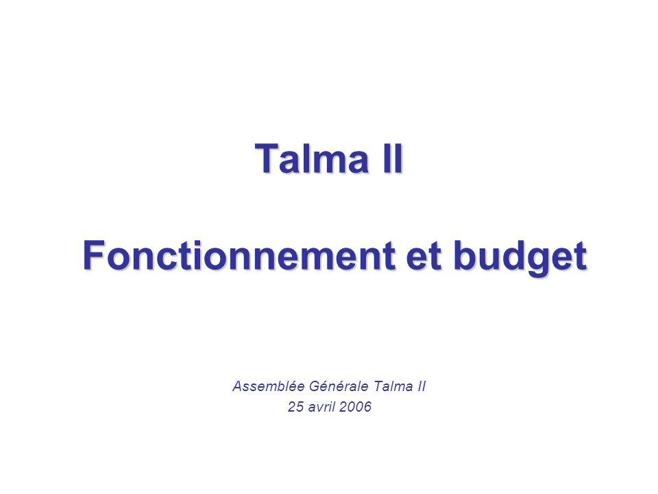 Talma II Fonctionnement et budget Assemblée Générale Talma II 25 avril 2006
