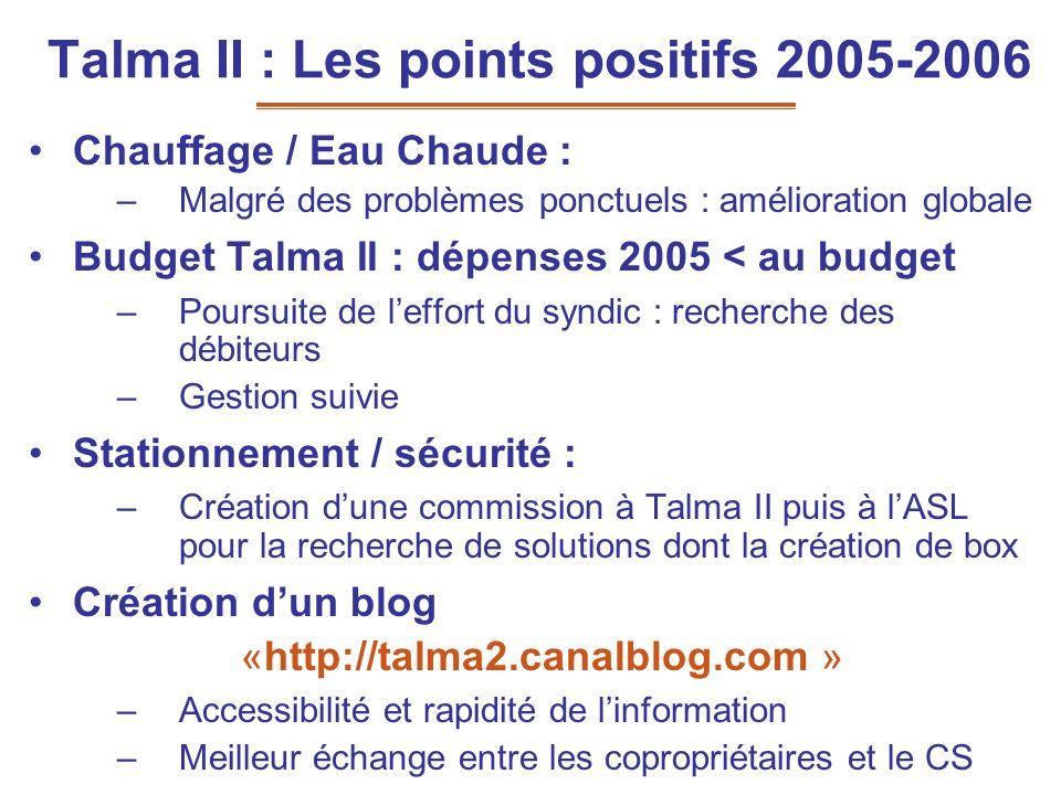Talma II : Les points positifs 2005-2006 Chauffage / Eau Chaude : –Malgré des problèmes ponctuels : amélioration globale Budget Talma II : dépenses 20