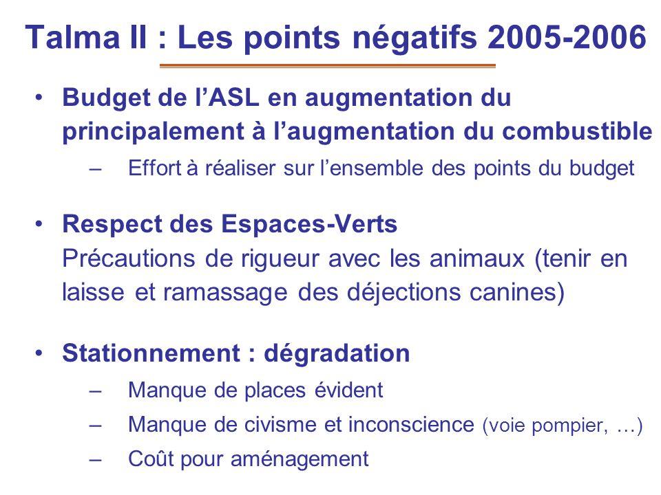Talma II : Les points négatifs 2005-2006 Budget de lASL en augmentation du principalement à laugmentation du combustible –Effort à réaliser sur lensem