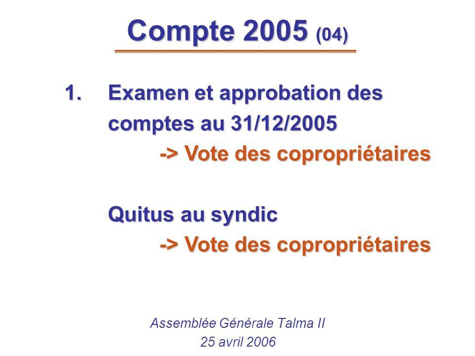 Compte 2005 (04) Assemblée Générale Talma II 25 avril 2006 1.Examen et approbation des comptes au 31/12/2005 -> Vote des copropriétaires Quitus au syn