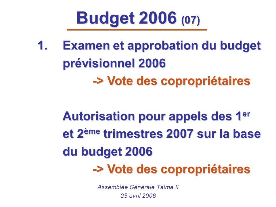Budget 2006 (07) Assemblée Générale Talma II 25 avril 2006 1.Examen et approbation du budget prévisionnel 2006 -> Vote des copropriétaires Autorisatio