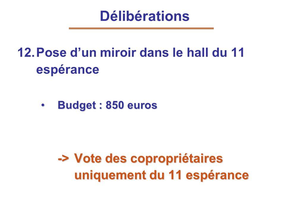 12.Pose dun miroir dans le hall du 11 espérance Budget : 850 eurosBudget : 850 euros -> Vote des copropriétaires uniquement du 11 espérance Délibérati