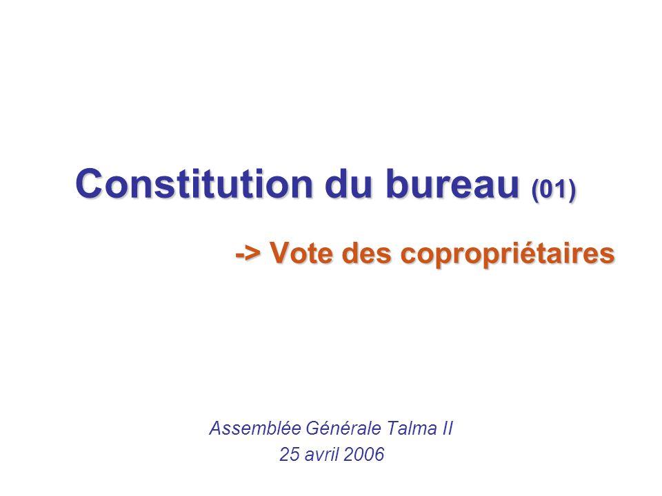 Rapport du président du conseil syndical de Talma II Olivier Barnay (02) Assemblée Générale Talma II 25 avril 2006