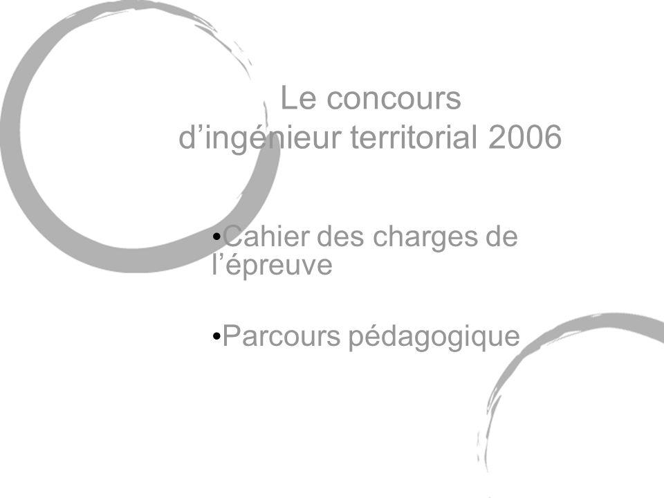 9 avril 2006Concours ingénieur territorial 2006 22 Parcours pédagogique 4 septembre Concours en temps réel et corrigé Corrigé rapide