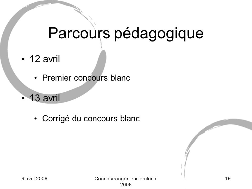 9 avril 2006Concours ingénieur territorial 2006 19 Parcours pédagogique 12 avril Premier concours blanc 13 avril Corrigé du concours blanc