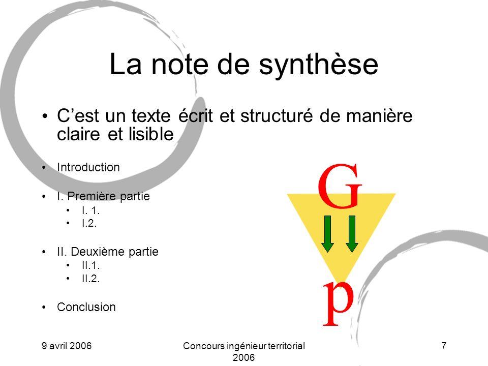 9 avril 2006Concours ingénieur territorial 2006 8 La partie « propositions » Cest un texte écrit et structuré de manière claire et lisible qui a un lien organique avec la note de synthèse Introduction I.