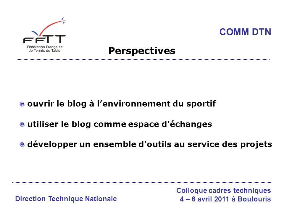 Perspectives ouvrir le blog à lenvironnement du sportif utiliser le blog comme espace déchanges développer un ensemble doutils au service des projets