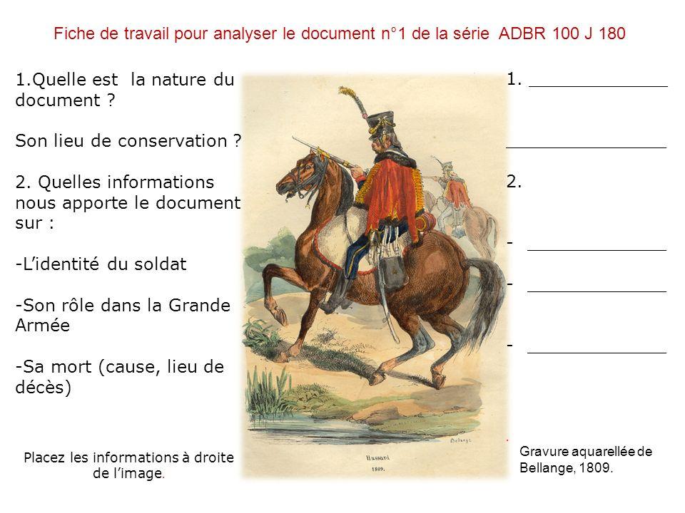 Fiche de travail pour analyser le document n°1 de la série ADBR 100 J 180 1.Quelle est la nature du document ? Son lieu de conservation ? 2. Quelles i