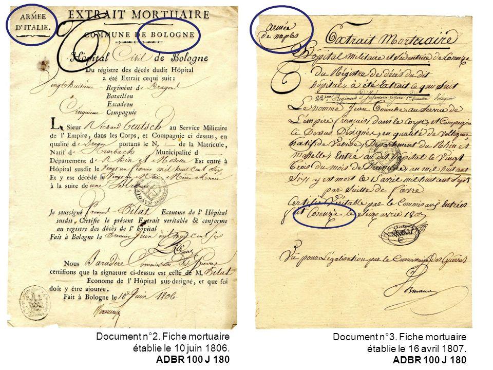 Document n°2. Fiche mortuaire établie le 10 juin 1806. ADBR 100 J 180 Document n°3. Fiche mortuaire établie le 16 avril 1807. ADBR 100 J 180
