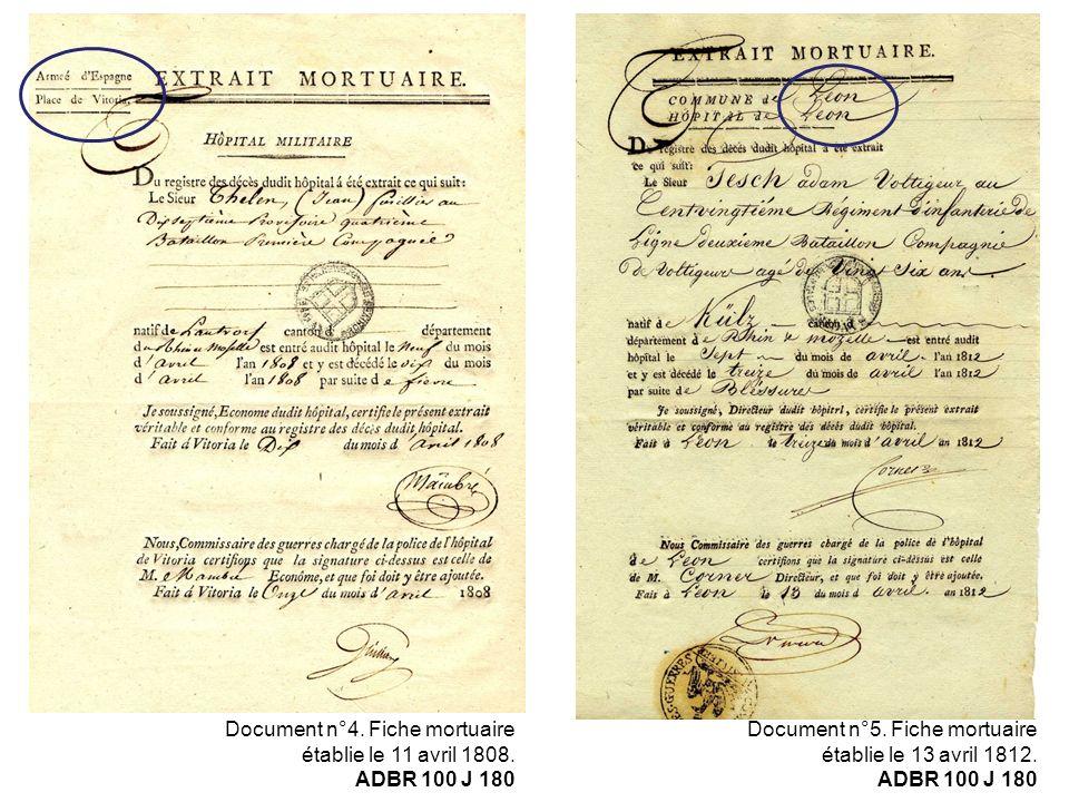 Document n°4. Fiche mortuaire établie le 11 avril 1808. ADBR 100 J 180 Document n°5. Fiche mortuaire établie le 13 avril 1812. ADBR 100 J 180