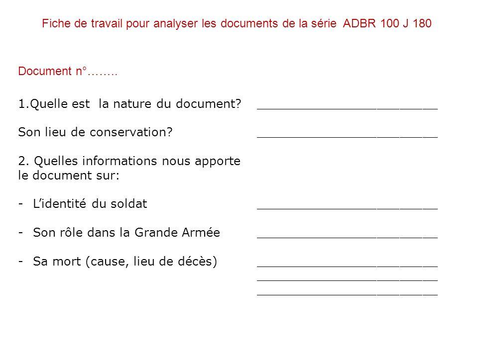 Fiche de travail pour analyser les documents de la série ADBR 100 J 180 1.Quelle est la nature du document? ________________________ Son lieu de conse