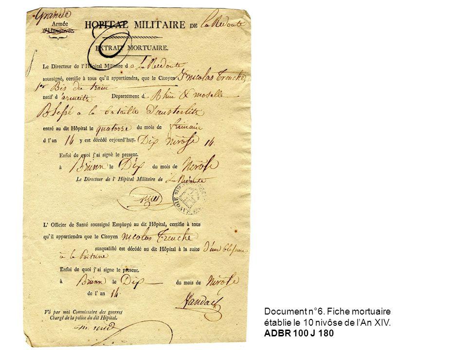 Document n°6. Fiche mortuaire établie le 10 nivôse de lAn XIV. ADBR 100 J 180