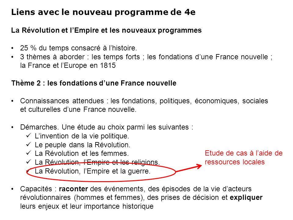 Liens avec le nouveau programme de 4e La Révolution et lEmpire et les nouveaux programmes 25 % du temps consacré à lhistoire. 3 thèmes à aborder : les