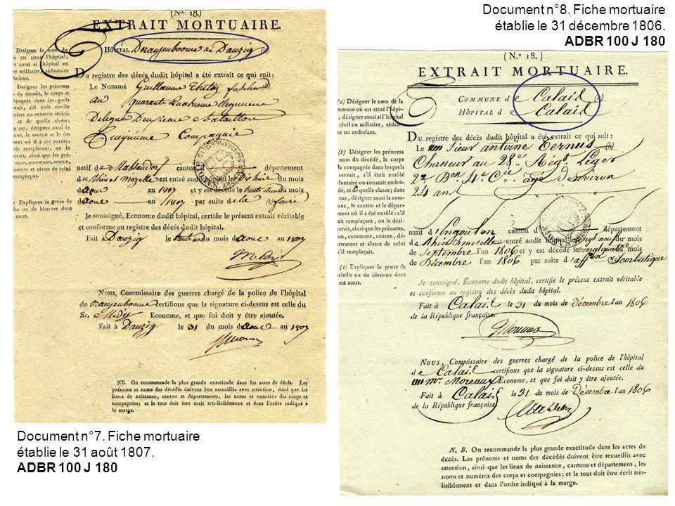 Document n°7. Fiche mortuaire établie le 31 août 1807. ADBR 100 J 180 Document n°8. Fiche mortuaire établie le 31 décembre 1806. ADBR 100 J 180