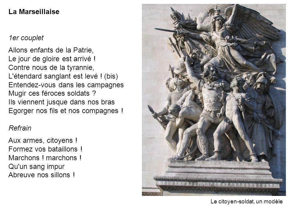 La Marseillaise 1er couplet Allons enfants de la Patrie, Le jour de gloire est arrivé ! Contre nous de la tyrannie, L'étendard sanglant est levé ! (bi