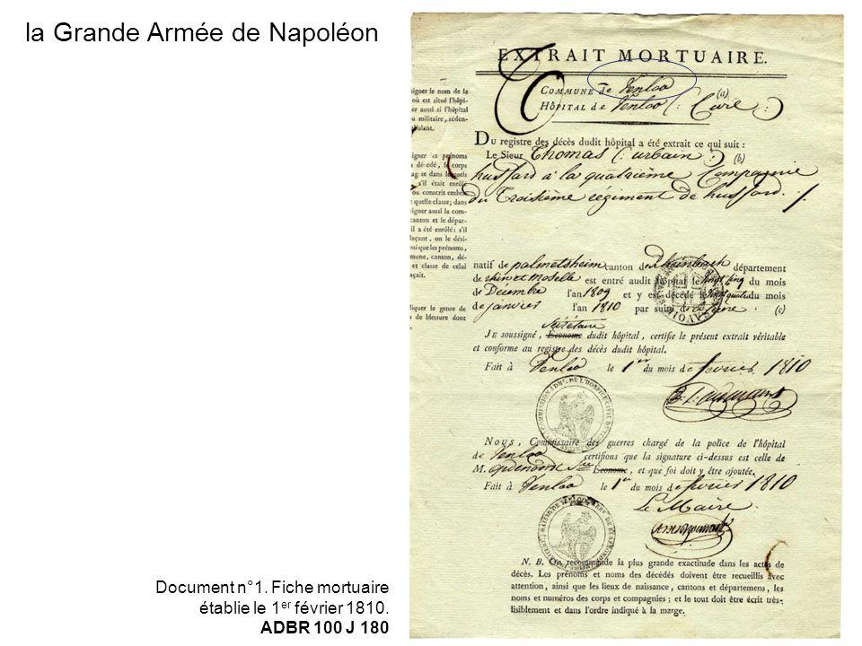 la Grande Armée de Napoléon Document n°1. Fiche mortuaire établie le 1 er février 1810. ADBR 100 J 180
