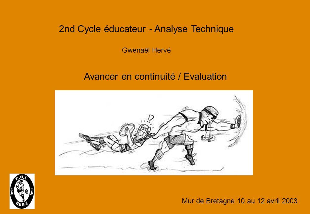 2nd Cycle éducateur - Analyse Technique Gwenaël Hervé Avancer en continuité / Evaluation Mur de Bretagne 10 au 12 avril 2003