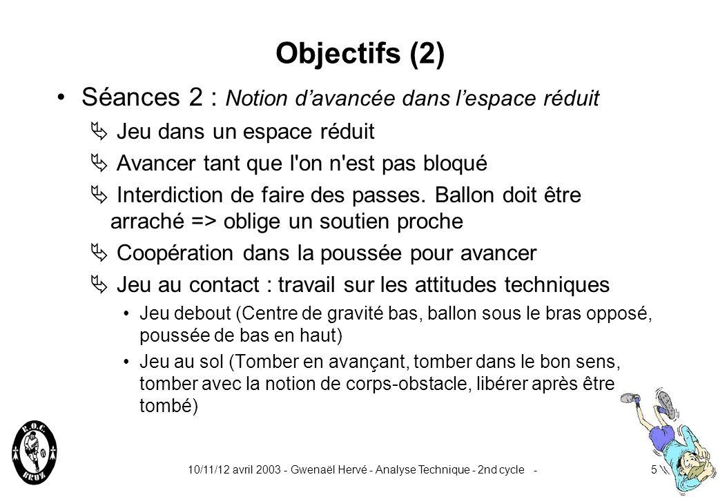 10/11/12 avril 2003 - Gwenaël Hervé - Analyse Technique - 2nd cycle -5 Objectifs (2) Séances 2 : Notion davancée dans lespace réduit Jeu dans un espace réduit Avancer tant que l on n est pas bloqué Interdiction de faire des passes.