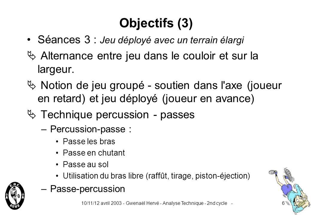 10/11/12 avril 2003 - Gwenaël Hervé - Analyse Technique - 2nd cycle -6 Objectifs (3) Séances 3 : Jeu déployé avec un terrain élargi Alternance entre jeu dans le couloir et sur la largeur.