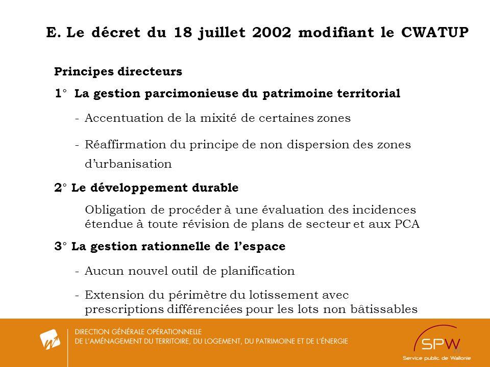 10 E.Le décret du 18 juillet 2002 modifiant le CWATUP Principes directeurs 1°La gestion parcimonieuse du patrimoine territorial -Accentuation de la mi