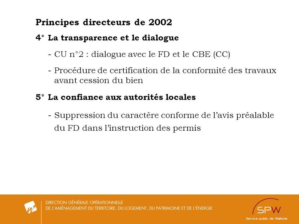 11 Principes directeurs de 2002 4°La transparence et le dialogue -CU n°2 : dialogue avec le FD et le CBE (CC) -Procédure de certification de la confor
