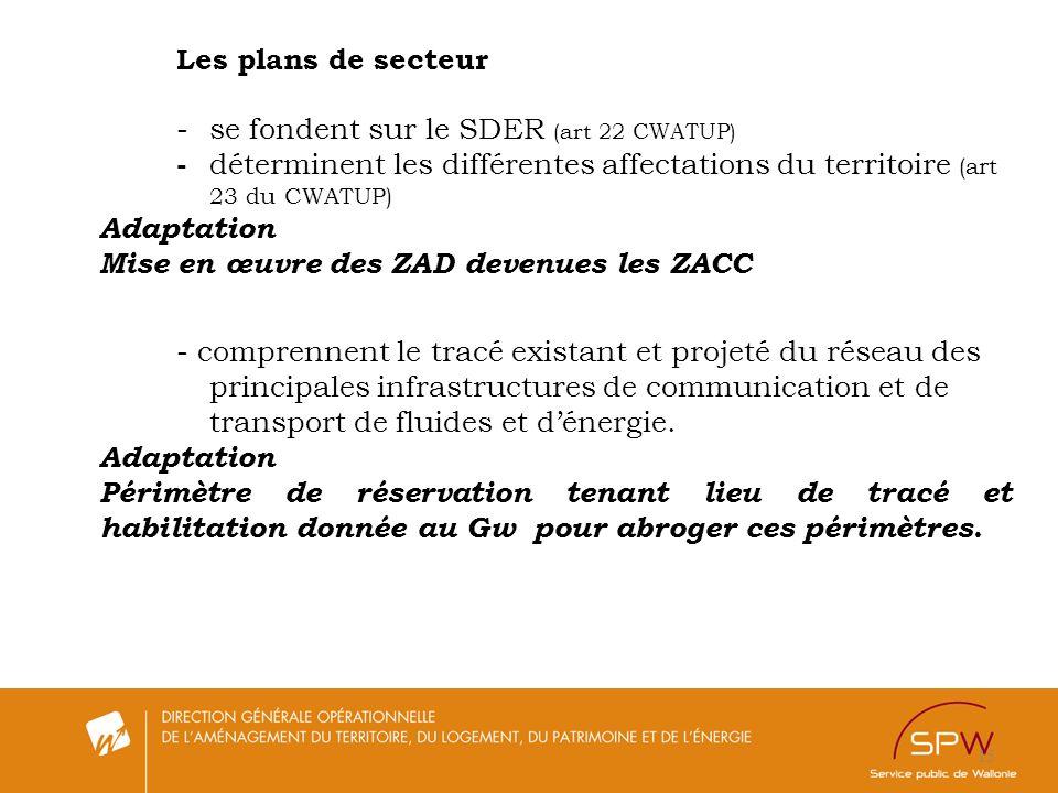 15 Les plans de secteur -se fondent sur le SDER (art 22 CWATUP) - déterminent les différentes affectations du territoire (art 23 du CWATUP) Adaptation