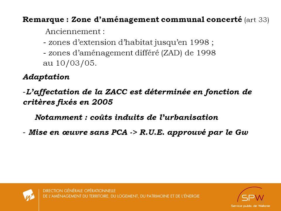 21 Remarque : Zone daménagement communal concerté (art 33) Anciennement : - zones dextension dhabitat jusquen 1998 ; - zones daménagement différé (ZAD