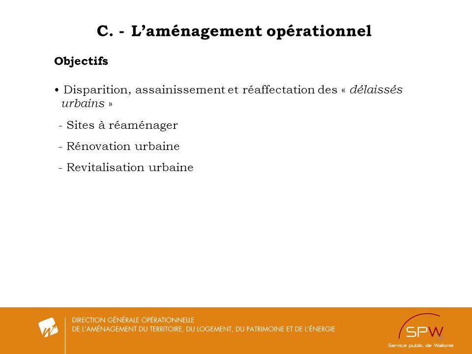 26 C. - Laménagement opérationnel Objectifs Disparition, assainissement et réaffectation des « délaissés urbains » - Sites à réaménager - Rénovation u