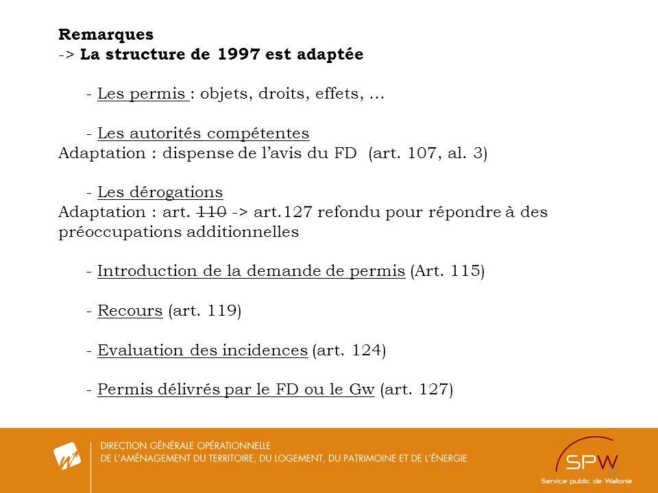 28 Remarques -> La structure de 1997 est adaptée - Les permis : objets, droits, effets, … - Les autorités compétentes Adaptation : dispense de lavis d