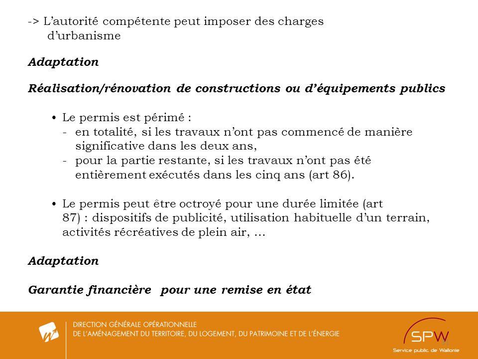 31 -> Lautorité compétente peut imposer des charges durbanisme Adaptation Réalisation/rénovation de constructions ou déquipements publics Le permis es