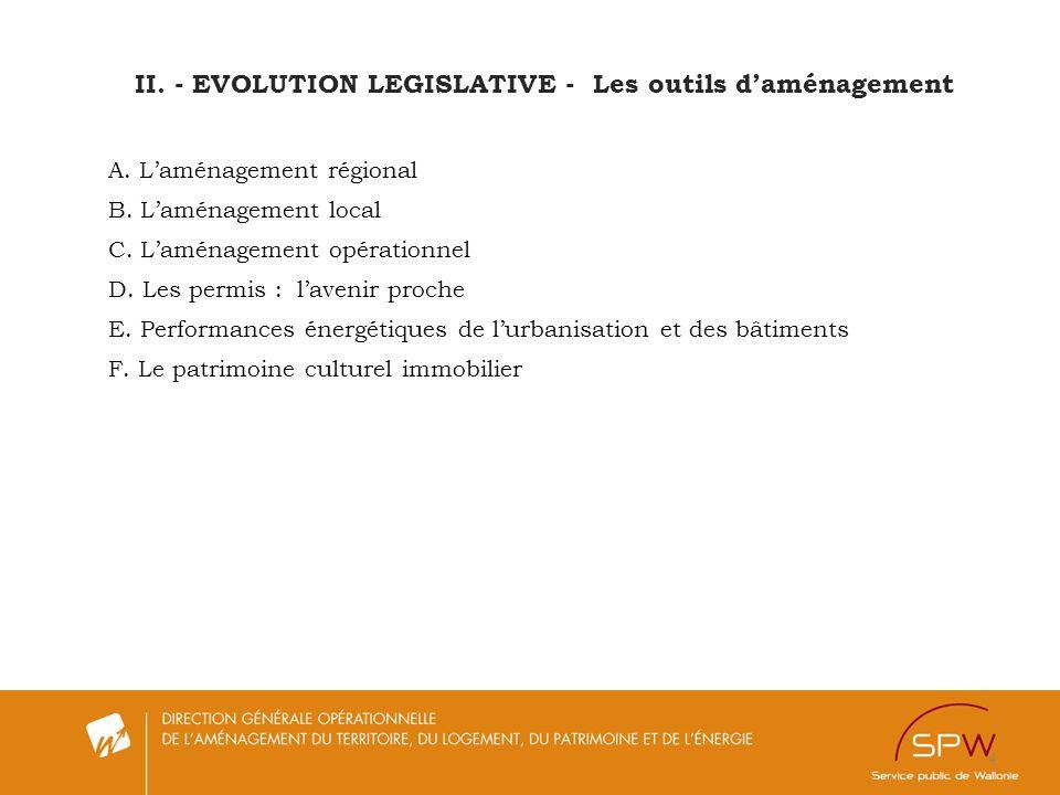 4 A. Laménagement régional B. Laménagement local C. Laménagement opérationnel D. Les permis : lavenir proche E. Performances énergétiques de lurbanisa