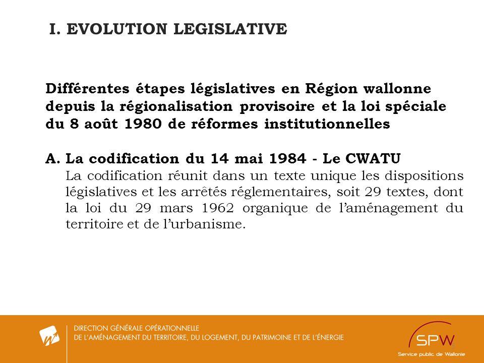5 I. EVOLUTION LEGISLATIVE Différentes étapes législatives en Région wallonne depuis la régionalisation provisoire et la loi spéciale du 8 août 1980 d