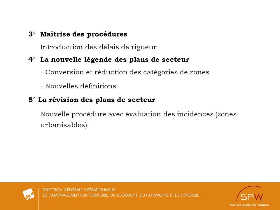 9 3°Maîtrise des procédures Introduction des délais de rigueur 4°La nouvelle légende des plans de secteur - Conversion et réduction des catégories de