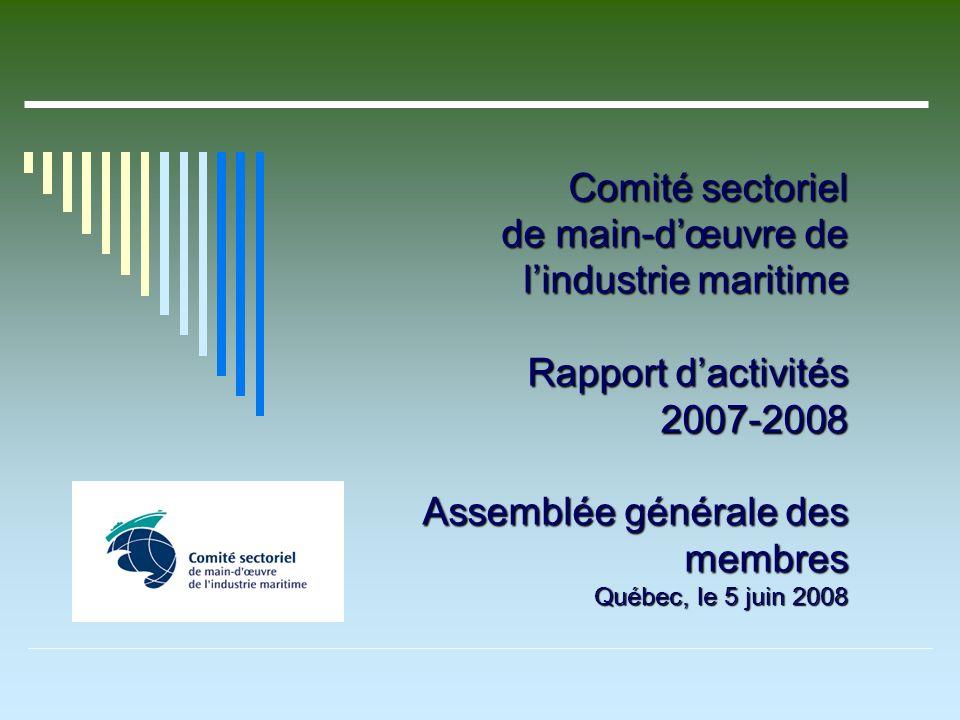 Comité sectoriel de main-dœuvre de lindustrie maritime Rapport dactivités 2007-2008 Assemblée générale des membres Québec, le 5 juin 2008