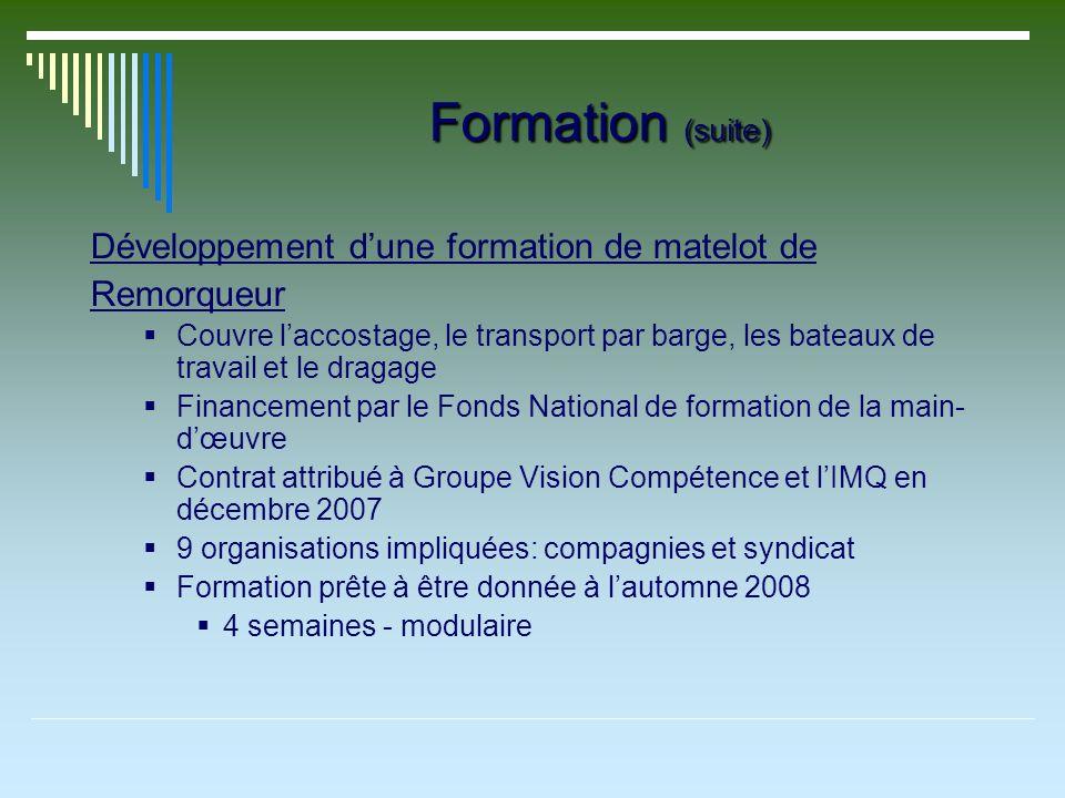 Formation (suite) Développement dune formation de matelot de Remorqueur Couvre laccostage, le transport par barge, les bateaux de travail et le dragag