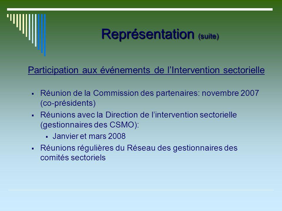 Représentation (suite) Participation aux événements de lIntervention sectorielle Réunion de la Commission des partenaires: novembre 2007 (co-président