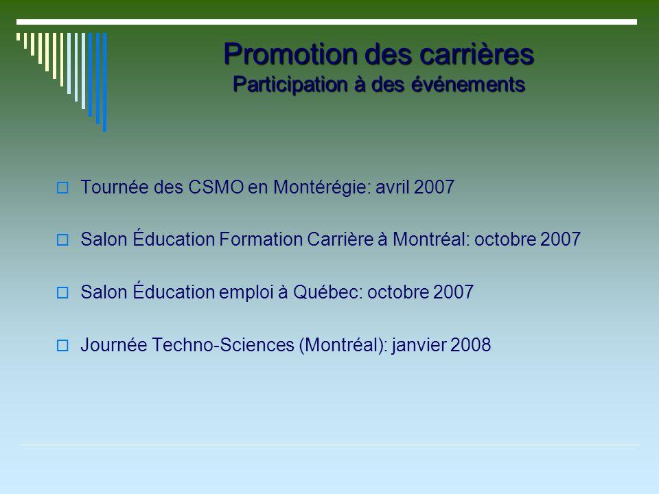 Promotion des carrières Participation à des événements Tournée des CSMO en Montérégie: avril 2007 Salon Éducation Formation Carrière à Montréal: octobre 2007 Salon Éducation emploi à Québec: octobre 2007 Journée Techno-Sciences (Montréal): janvier 2008