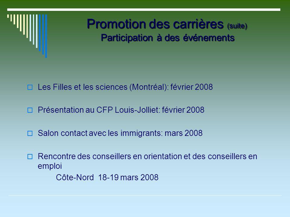 Promotion des carrières (suite) Participation à des événements Les Filles et les sciences (Montréal): février 2008 Présentation au CFP Louis-Jolliet:
