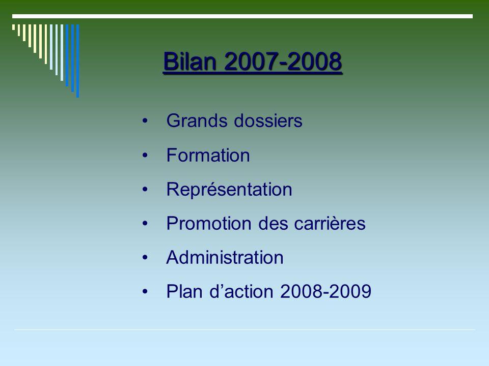 Bilan 2007-2008 Grands dossiers Formation Représentation Promotion des carrières Administration Plan daction 2008-2009