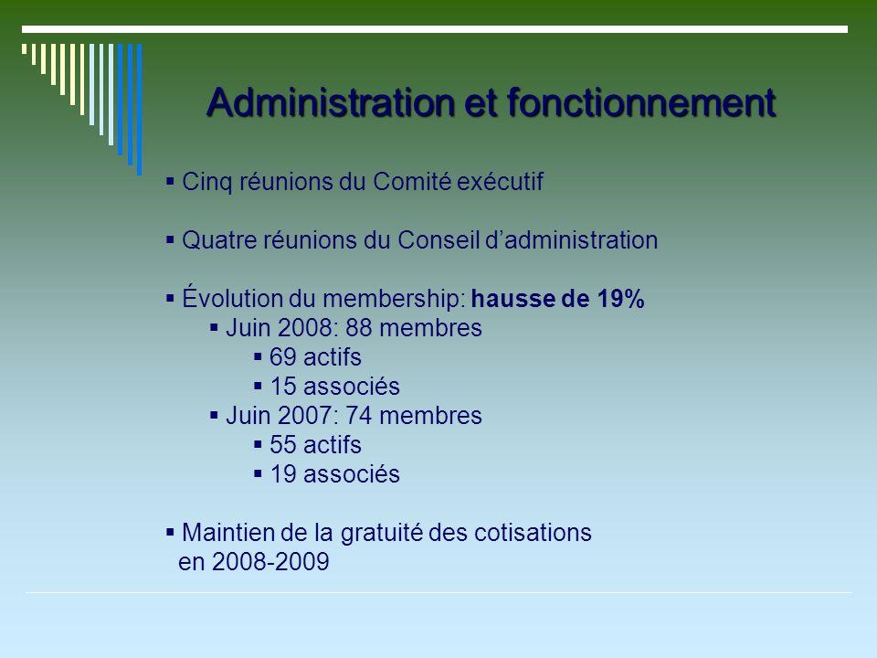 Administration et fonctionnement Cinq réunions du Comité exécutif Quatre réunions du Conseil dadministration Évolution du membership: hausse de 19% Juin 2008: 88 membres 69 actifs 15 associés Juin 2007: 74 membres 55 actifs 19 associés Maintien de la gratuité des cotisations en 2008-2009