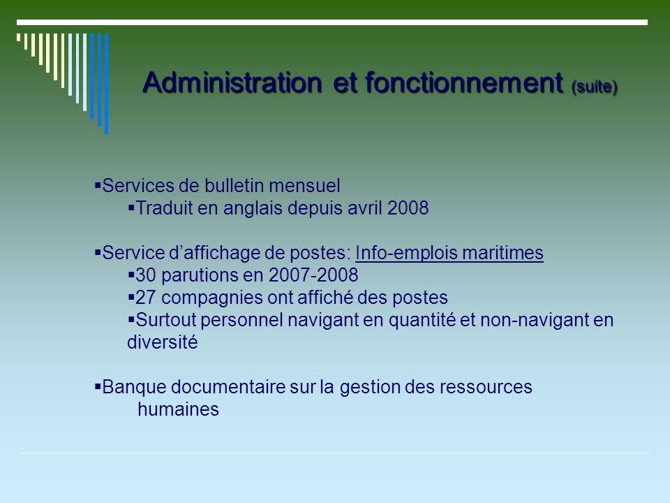 Administration et fonctionnement (suite) Services de bulletin mensuel Traduit en anglais depuis avril 2008 Service daffichage de postes: Info-emplois
