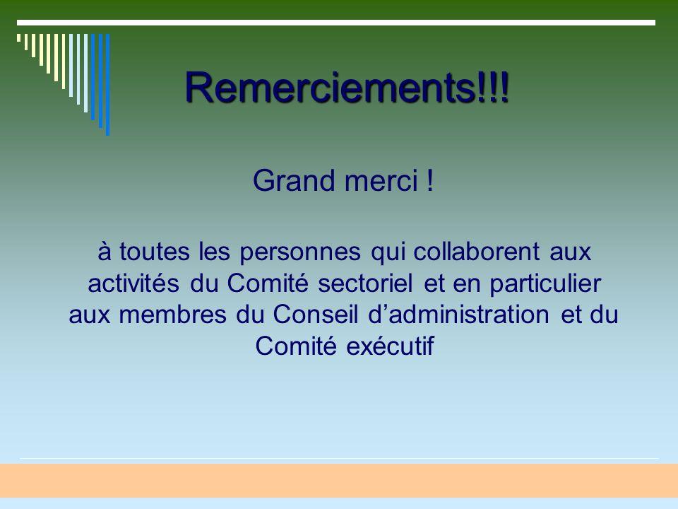 Remerciements!!! Grand merci ! à toutes les personnes qui collaborent aux activités du Comité sectoriel et en particulier aux membres du Conseil dadmi