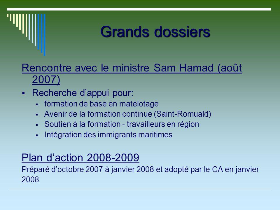 Grands dossiers Rencontre avec le ministre Sam Hamad (août 2007) Recherche dappui pour: formation de base en matelotage Avenir de la formation continu