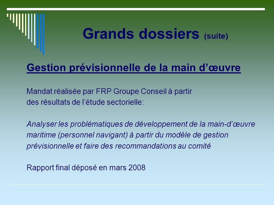 Grands dossiers (suite) Gestion prévisionnelle de la main dœuvre Mandat réalisée par FRP Groupe Conseil à partir des résultats de létude sectorielle: