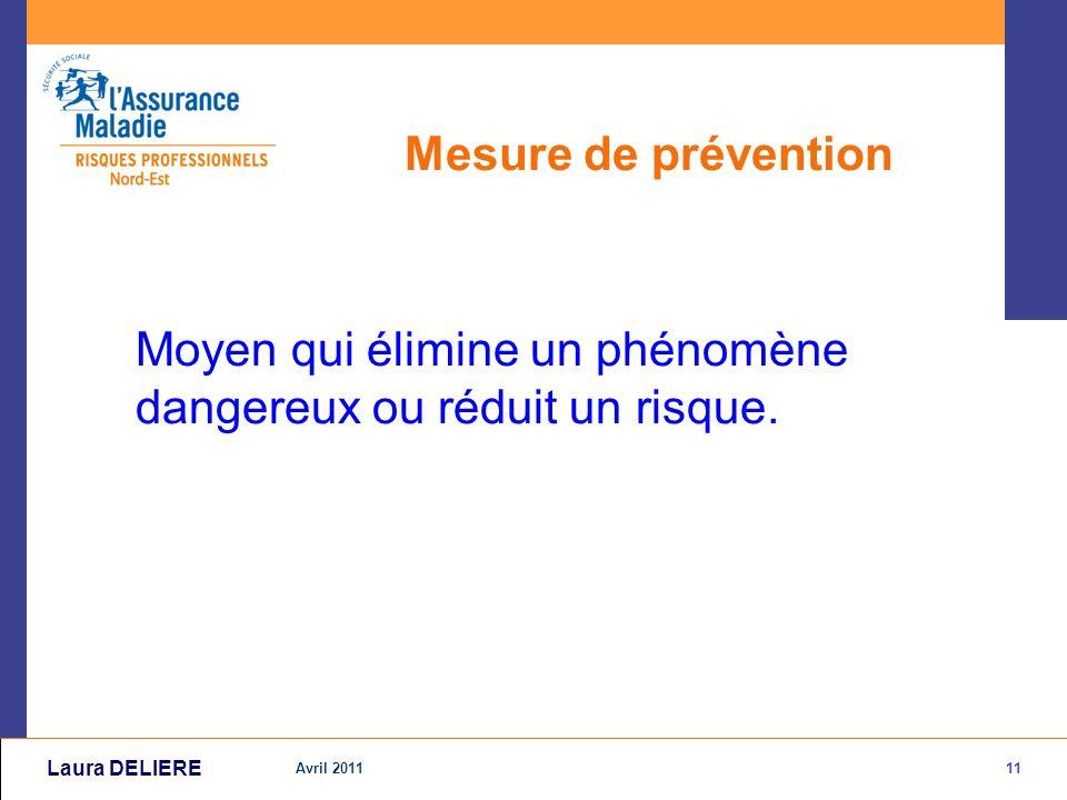 11 Avril 2011 Laura DELIERE Mesure de prévention Moyen qui élimine un phénomène dangereux ou réduit un risque.