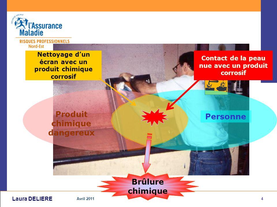 4 Avril 2011 Laura DELIERE Personne Produit chimique dangereux Nettoyage dun écran avec un produit chimique corrosif Contact de la peau nue avec un produit corrosif Brûlure chimique