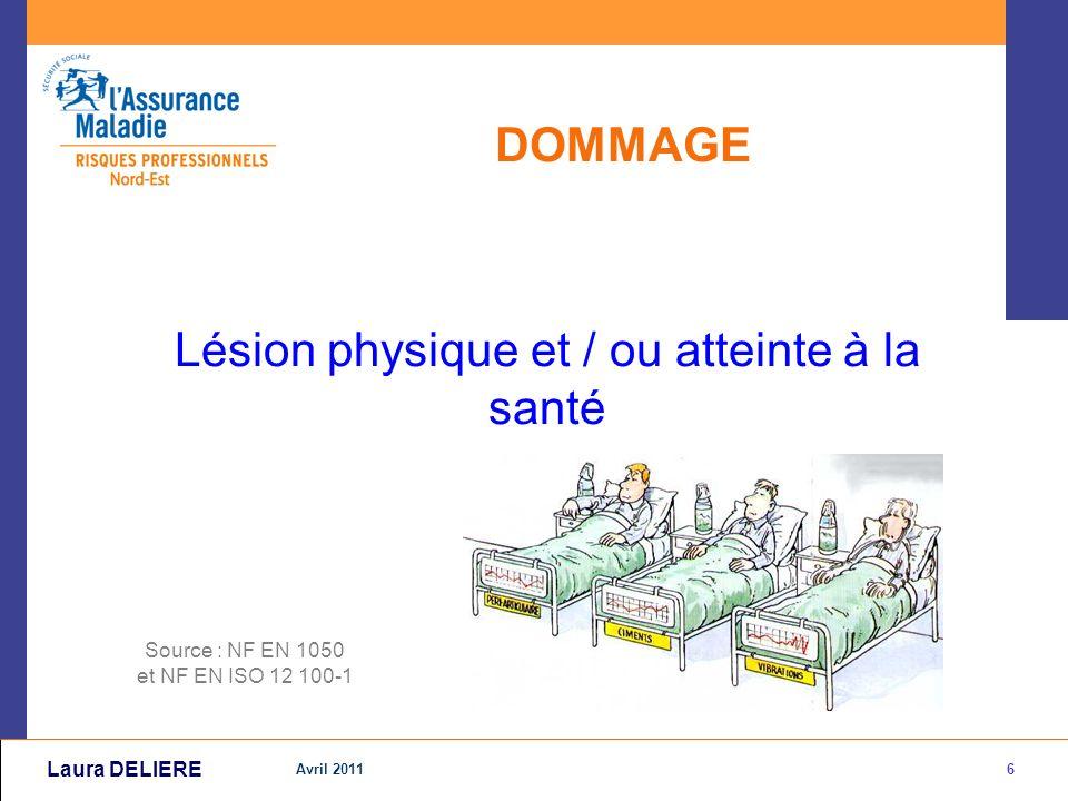 6 Avril 2011 Laura DELIERE DOMMAGE Lésion physique et / ou atteinte à la santé Source : NF EN 1050 et NF EN ISO 12 100-1